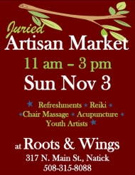 Artisan Market Benefit, roots and wings, events, workshops, yoga studio, natick, ma